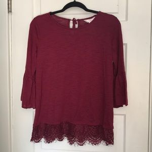 Lauren Conrad Maroon Cotton Top